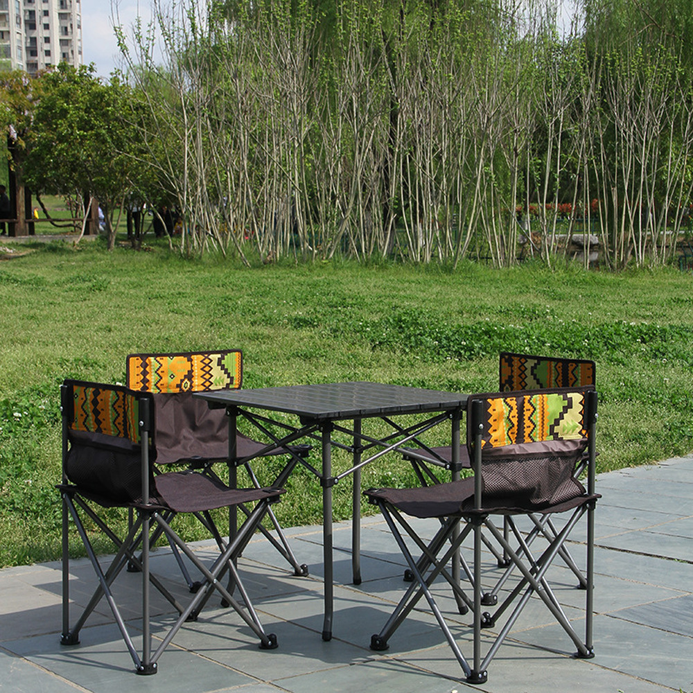 Outdoor Camping Folding Beach Casual Table And Chairs 5-piece Aluminum Alloy Self-driving Picnic Table And Chairs Set LM01101831