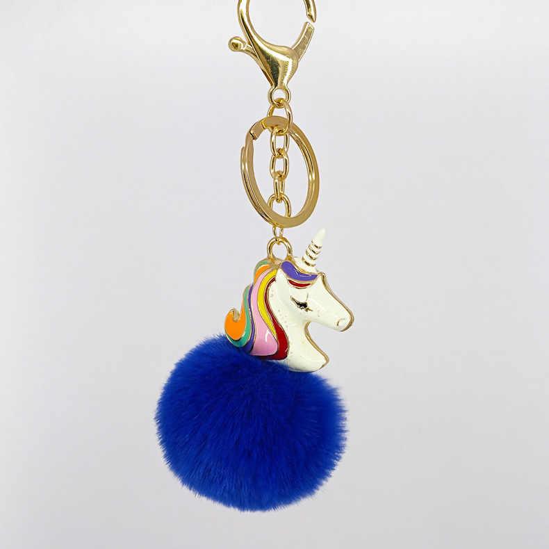 Moda Pingentes Cavalo 5 centímetros Faux Fur Pom Pom Chave Keychain Chave Do Carro Cadeia Saco Bonito Charme Acessórios Animais unicórnio anel K1662