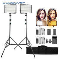 Capahorrador TL-240S 2 juegos de luz de vídeo LED iluminación de fotografía 5600K CRI93 240 LEDs led Panel lámpara luces para sesión de estudio de vídeo