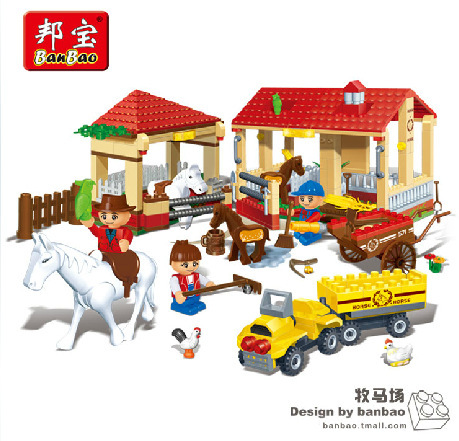 Electric pneumatic splicing of small particles blocks puzzle toy horse ranch 8571