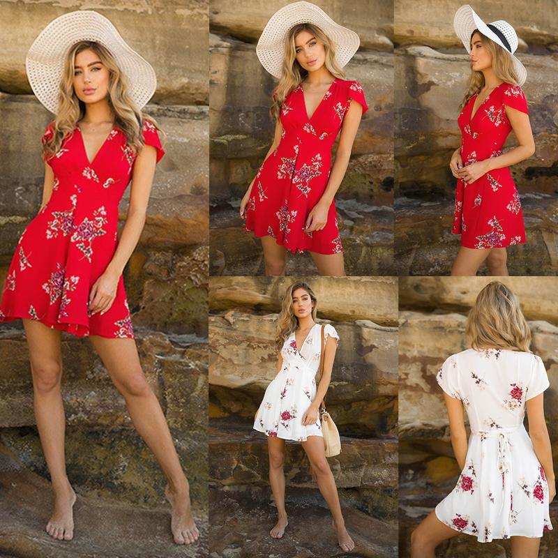 Womens Boho Beach Summer sundress Casual Party Cocktail Short Sleeve Floral Dress elegant playa v-neck harajuku vestido femme 2