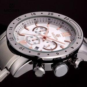 Image 3 - MEGIR montre bracelet à quartz pour hommes, montre bracelet blanche, à la mode, avec trois yeux, étanche et lumineuse, pour hommes, tendance