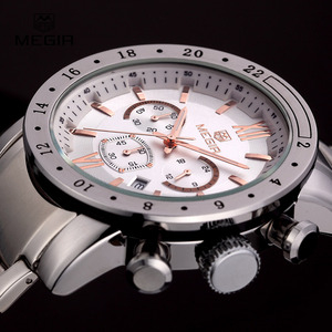 Image 3 - Megir ホットブランド男性用クォーツ時計男のビジネス白腕時計ファッション三目防水夜光時計のための男性