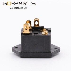 Image 3 - GD PARTS IEC320 C14 męski gniazdo zasilania AC z uchwytem bezpiecznika pozłacany mosiądz przewód zasilający wlot Hifi Audio DIY AC250V 10A 1PC