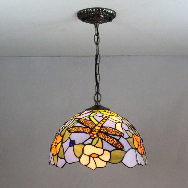 12 Inch Dragonfly Tiffany pendant light  Stained Glass Lamp for Bedroom E27 110-240V 16inch tiffany style rose glass pendant light bedroom study color glass lamp e27 110 240v