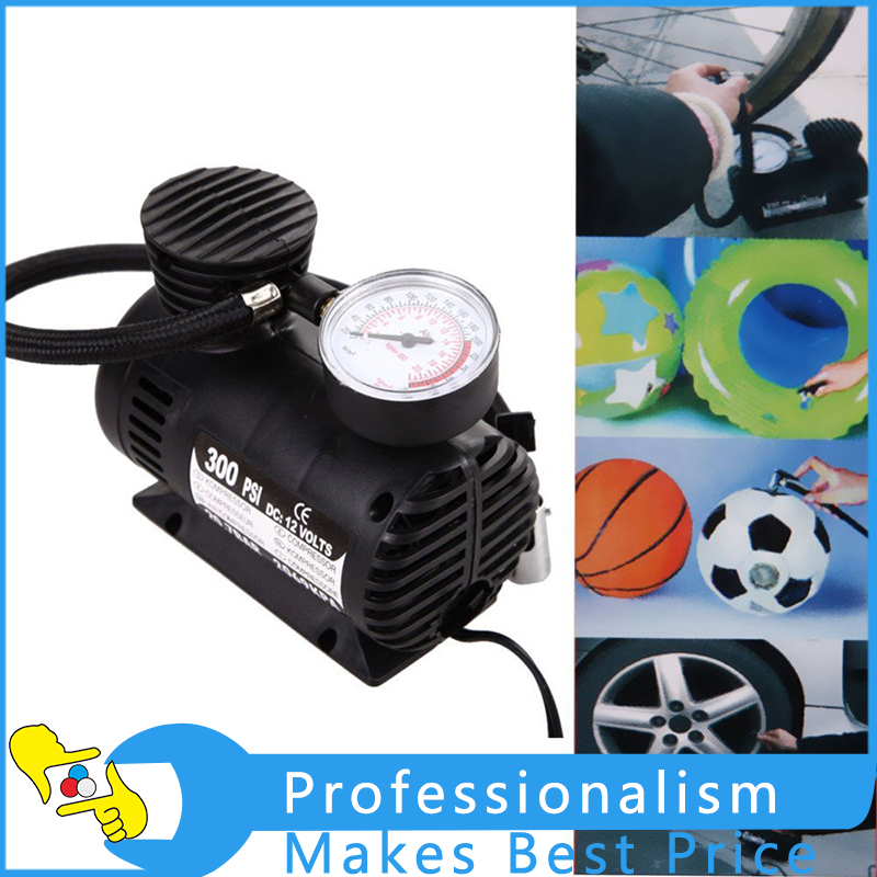 12V 300PSI Car Tire Tyre Inflator Pump Mini Compact Compressor Pump With Good Quality dc 12v double cylinder air pump compressor car tire tyre inflator kit