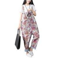 Women Vintage Washed Floral Printed Wide Leg Bib Hole Denim Overalls Jean Jumpsuits Female Large Size Drop Crotch Rompers