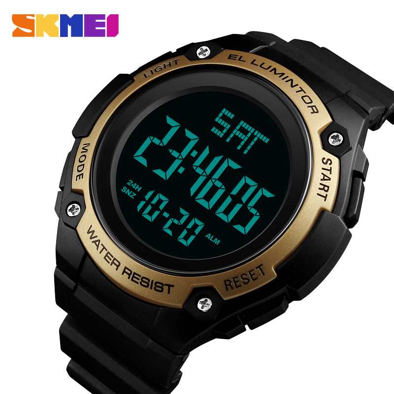 SKMEI Countdown Sports Watches Men LED Electronic Digital Watch Waterproof Mens Watches Top Brand Luxury Clock Relogio Masculino outdoor sports watches men skmei brand countdown led men s digital watch altimeter pressure compass thermometer reloj hombre
