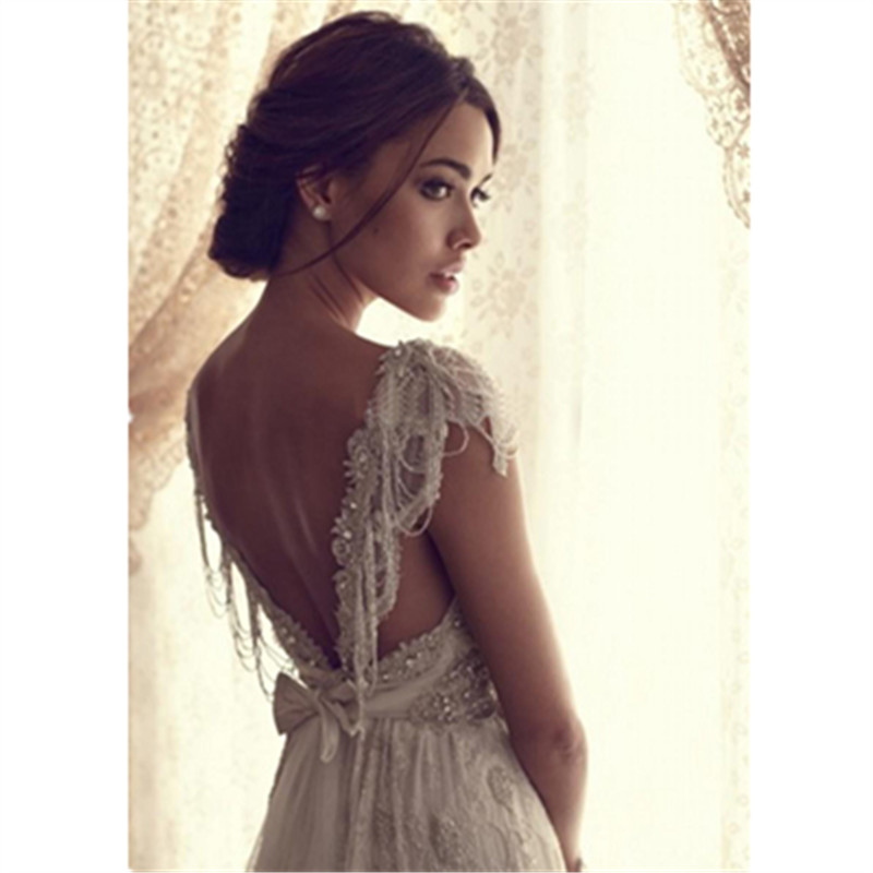 Sexy Wedding Dress Boho Long Backless White Beach Wedding Dress Appliques Lace V Neck Princess Bride