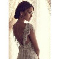 Sexy Wedding Dress Boho Long Backless White Beach Wedding Dress Appliques Lace V Neck Princess Bride Dress Free Shipping