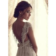 Sexy Wedding Dress Boho Long Backless White Beach Wedding Dr