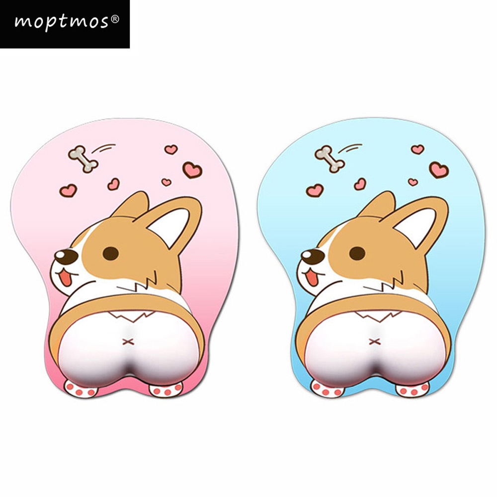 лучшая цена Anime 3D Mouse Pad Ergonomic Soft Silicon Gel Gaming Mousepad with Wrist Support Cute Corgi Dog Mouse Mat For Girls