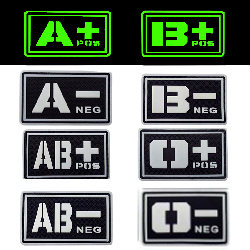 REEBOW TACTICAL 2X BLACK Noctilucent Luminous PVC Blood Type Patches A B O AB POS NEG Mi ...