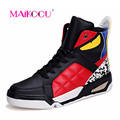 Little Monster Men's Casual High Shoes Cool and stylish Fashion Men Casual shoes Student Flat boots 0809 Red Black White