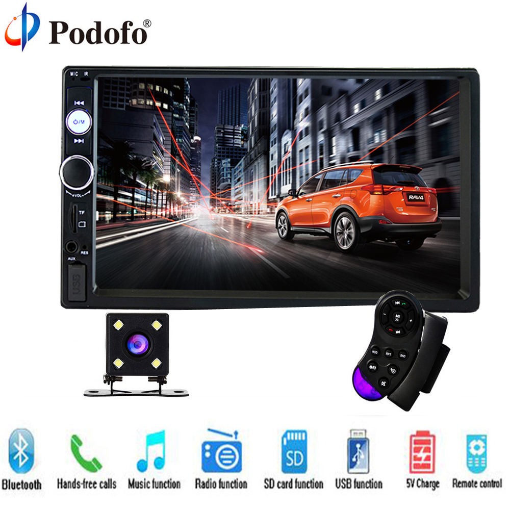 Podofo 2 Din Car Audio 7 HD Touch Screen BT Car autoradio MP5 Player Multimedia Radio Entertainment USB/TF FM Aux Input Camera 7inch 2 din hd car radio mp4 player with digital touch screen bluetooth usb tf fm dvr aux input support handsfree car charge gps
