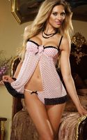 Sexy Babydoll Open Crotch Lingerie Polka Dot Underwire Babydoll 3S4061 Free Shipping Pink Open Front Babydoll