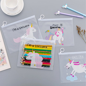 Cartoon Unicorn Pink Leopard Transparent PVC Document Bag File Folder Stationery Organizer