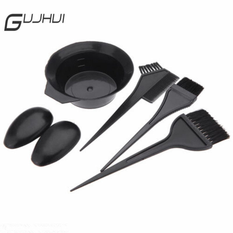 5pcs/set Black Hairdressing Tool Brushes Bowl Combo Salon Hair Color Dye DIY Set 3pcs Brush + 1pc Bowl + 1pair Earmuffs