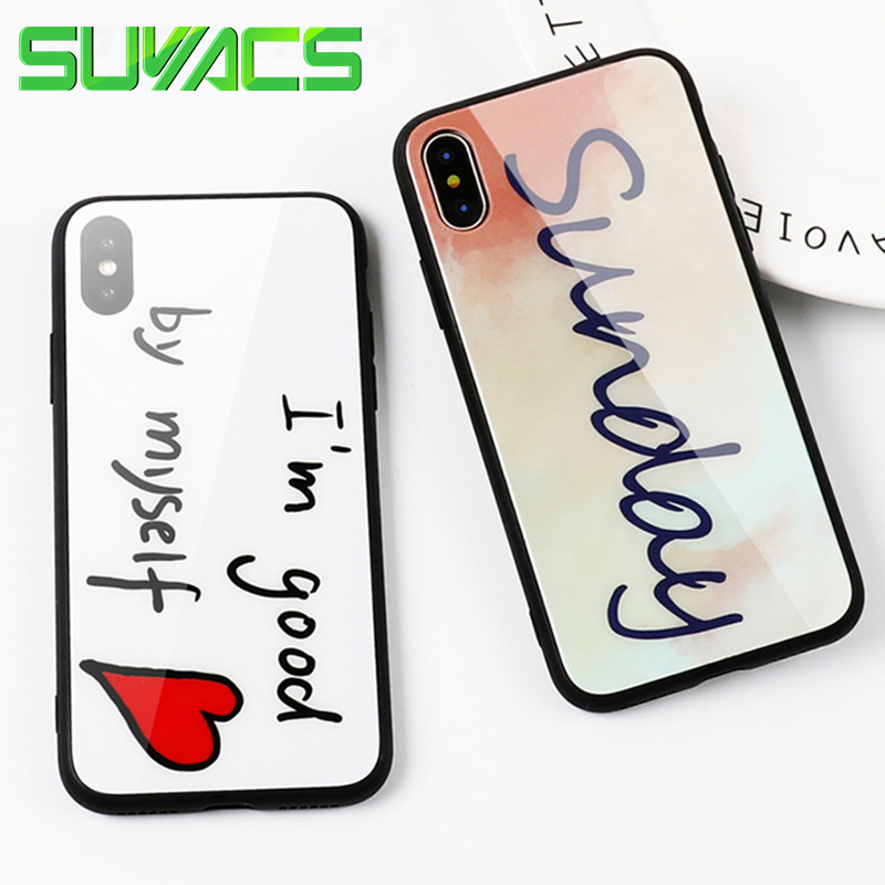SUYACS Glossy Phone Case For iPhone 6 6S 7 8 Plus X Hearts Love English Letter Clear Soft TPU Side + Tempered Glass Cover Cases