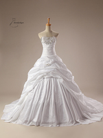 White Ball Gown Floor Length Taffeta Wedding Dress For Wedding Occasions With Sequineds SH0068