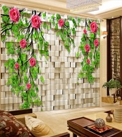 3D Curtain Purple Brick Wall  Green Leaf  Flowers Curtains For Bedroom Custom Any Size 3D Curtain Blackout Curtain Living Room