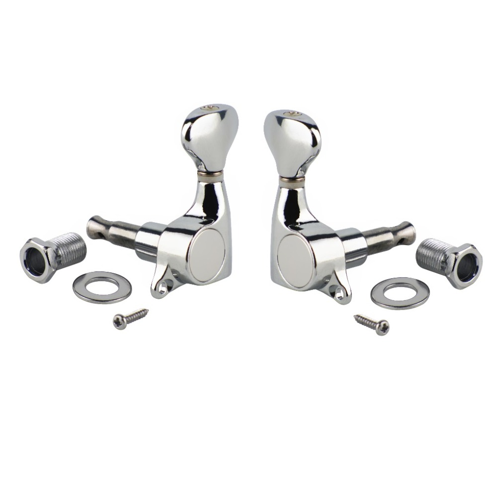 set of 2pcs quality sealed guitar machine heads tuning pegs electric guitar chrome 1l1r in. Black Bedroom Furniture Sets. Home Design Ideas
