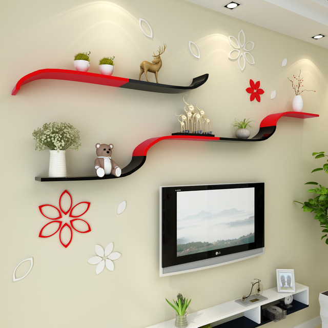 The Living Room Wall Partition Board Shelf Bedroom Wall Tv