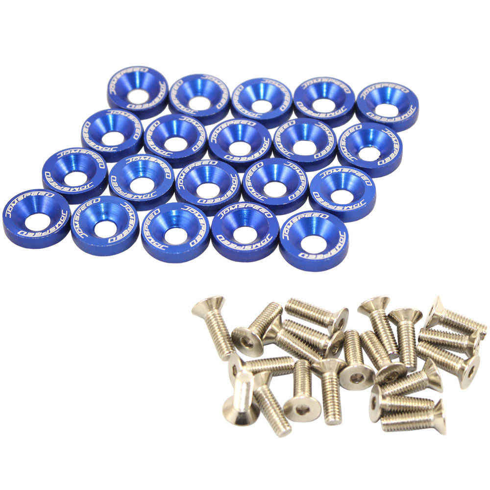 XYIVYG BLUE 20 PCS BILLET ALUMINUM FENDER/BUMPER WASHER/BOLT ENGINE BAY DRESS UP KIT M6X15MM
