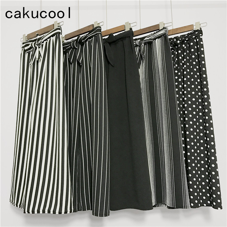Cakucool Women Summer Stripe Dot Wide Leg   Pant   Belt Fly High Waist   Pant   Skirt Loose Sash Ankle-length Casual   Pants     Capris   Female
