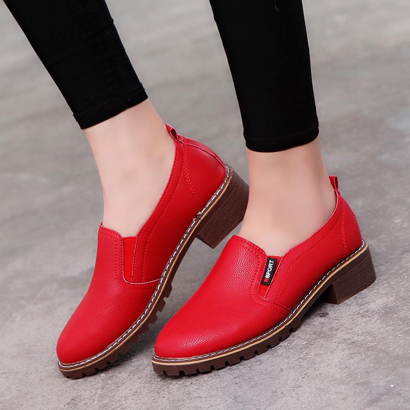 rojo Mujer Cuero Zapatos Redondo Pie Suave Negro 2018 Del Encaje B908 blanco oxford Shidiweike De Mujeres Dedo Planos Las OwTxnqz7x