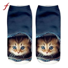 feitong 1 Pair Casual Women Low Cut Short Socks 3D Printed Animal Cat Anklet Hosiery Ladies Short Socks Art Picture Girls Socks(China)