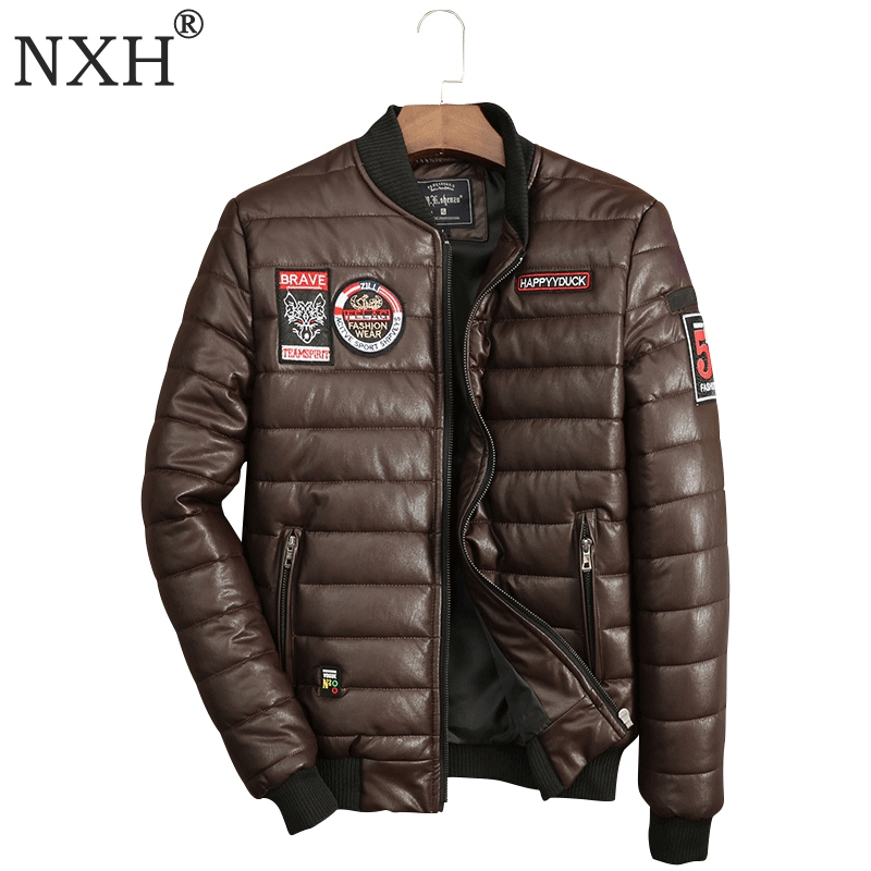 45-150KG Plus size Men's winter PU Leather Jacket Cotton garmen Warm men Overcoat Male Casual Black Blue coat Brand Quality