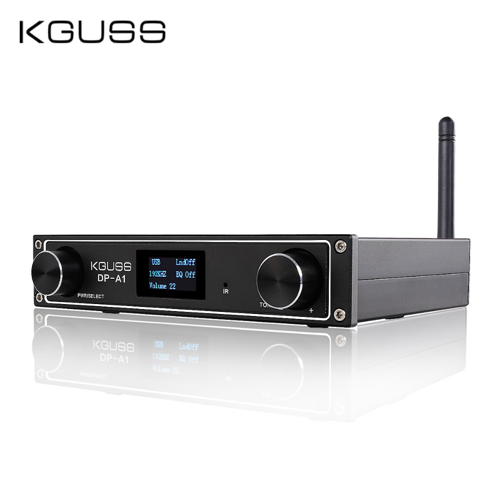 KGUSS DP-A1 TAS5352A Desktop Audio Amplifier CSR64215 Bluetooth 4.2/USB/Fiber/Coax/AUX Input 24BIT 192KHz 120W*2 APTX