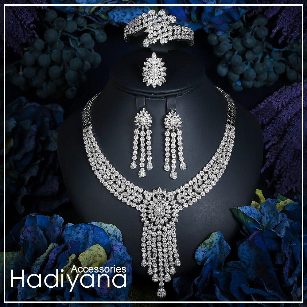 Hadiyana Nieuwe Kwastje Drop Sieraden Sets Vrouwen Bruiloft Zirconia Saudi Arabië Verklaring Ketting Earring Bangle Ring Set CN733-in Sieradensets van Sieraden & accessoires op  Groep 1