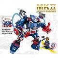 Marvel super heroes Avengers Ironman armadura MK2 patriota de ferro modelo bloco de construção Escudo do Capitão América com. legoeinglys. brinquedos