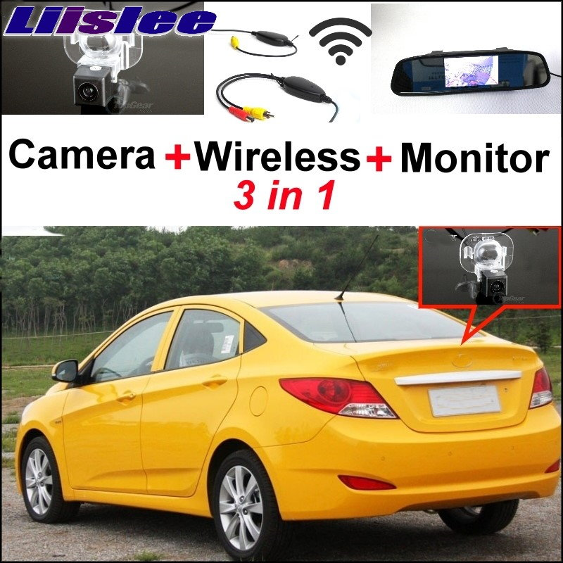 Liislee 3 in 1 Wireless Receiver + Mirror Monitor Easy Parking System For Hyundai Santa Fe 2000~2012 Special Rear View Camera wireless pager system 433 92mhz wireless restaurant table buzzer with monitor and watch receiver 3 display 42 call button