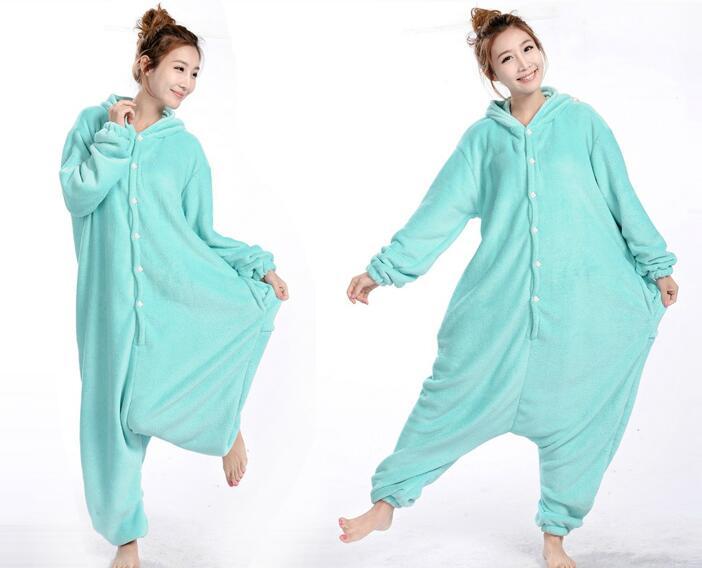 Anime Animal Circus Blue Elephant Polar Coral Fleece Winter Warm Cosplay Pajamas Adult Unisex Onesie Party