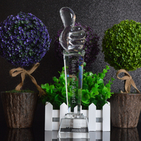 Custom Made Words Thumb Shape Engraving Award Professional Sports Event Awards Business Gift Souvenir K9 Crystal