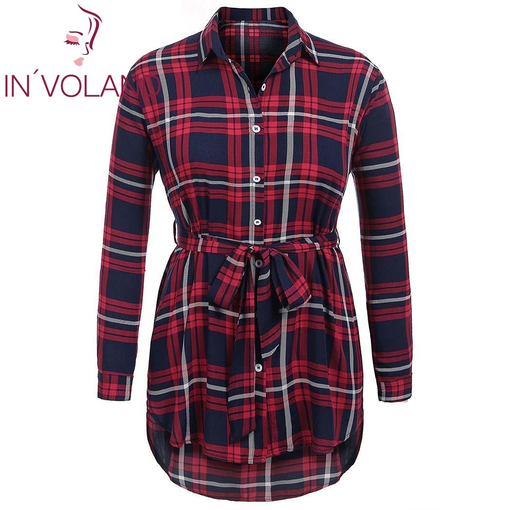 IN'VOLAND Women Blouse Blusas Tops Plus Size XL-5XL Spring Autumn Pullovers Plaid Button Down Loose Shirt Tops Belt Oversized