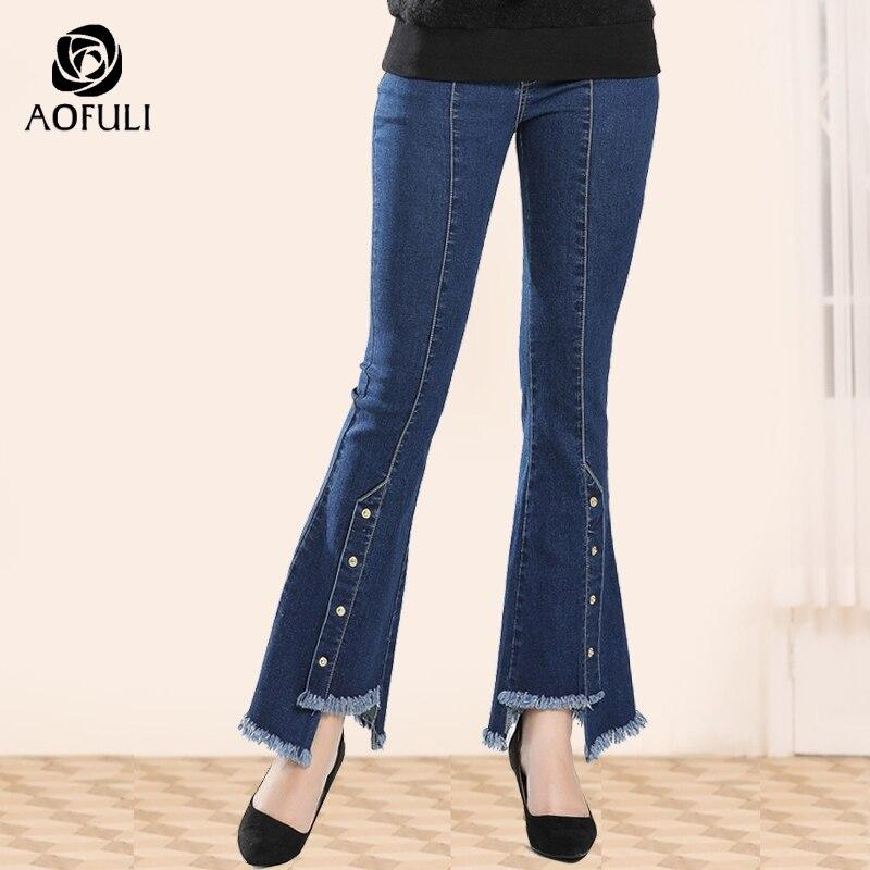AOFULI stylish asymmetrical women jeans full length denim trousers zipper pockets long flare pants L XXXL