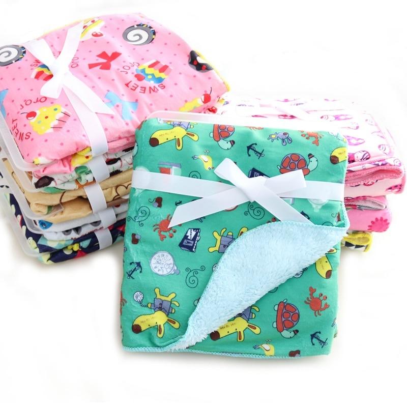 JUST CUTE Baby Blanket Coral Fleece Cartoon Double Layer Receiving Swaddle Envelope Stroller Wrap For Bebe Bedding Blankets Set