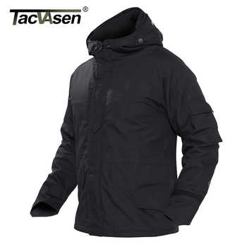 TACVASEN Men\'s Military Camouflage Jackets With Hood Winter Fleece Lining Tactical Jacket Coat Hooded Windproof Airsoft Outwear
