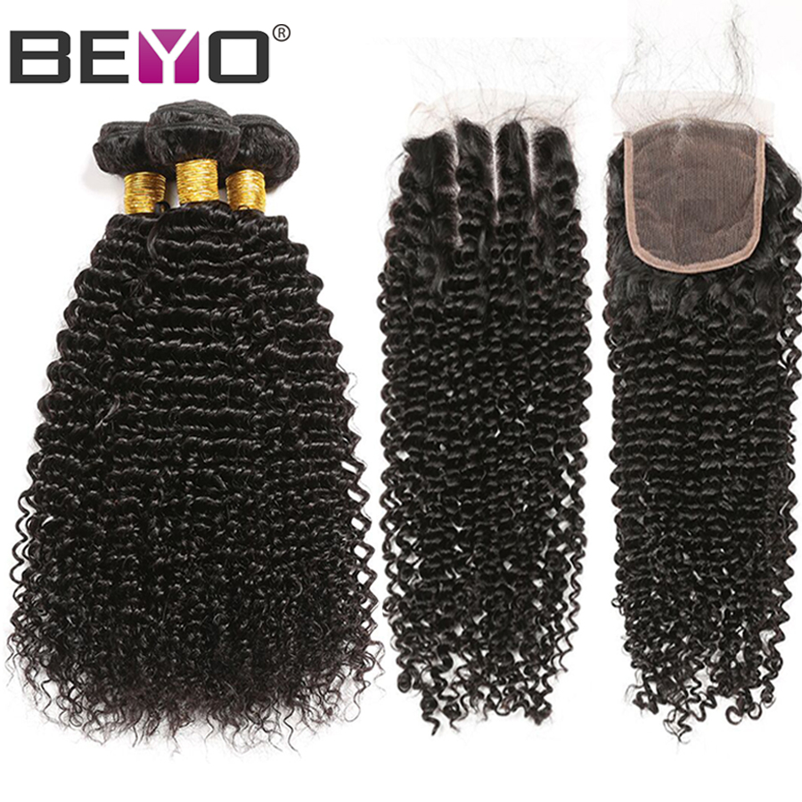 Mongolian Kinky Curly Hair 3 Bundles With Closure Human Hair Bundles With Closure Non Remy Hair