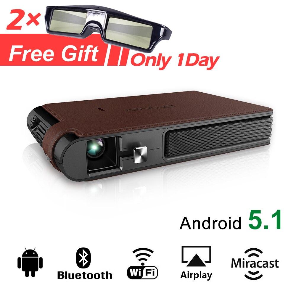 CAIWEI WIFI Home Cinéma Mini Portable led Pico 3D projecteur dlp 1080 P Vidéo Proyector avec Android Bluetooth Miracast Airplay