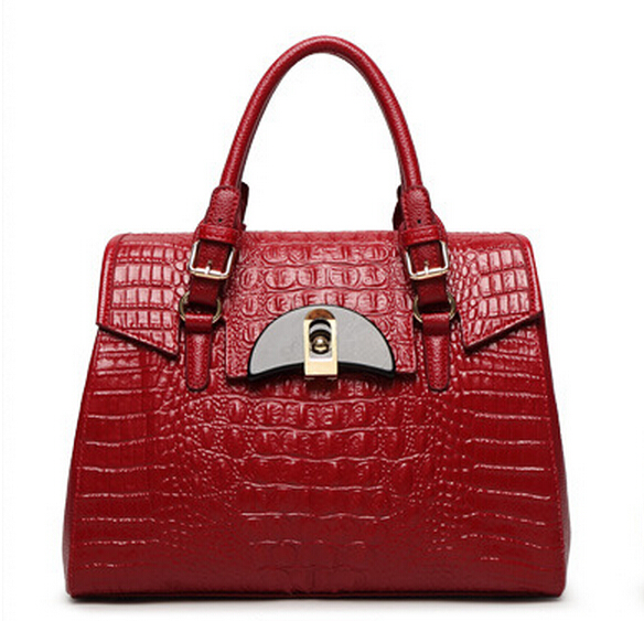 본격 100 % 정품 가죽 여성 악어 가방 여성 악어 핸드백 올려 놓 여성 가방 럭셔리 브랜드 가방 A108 #