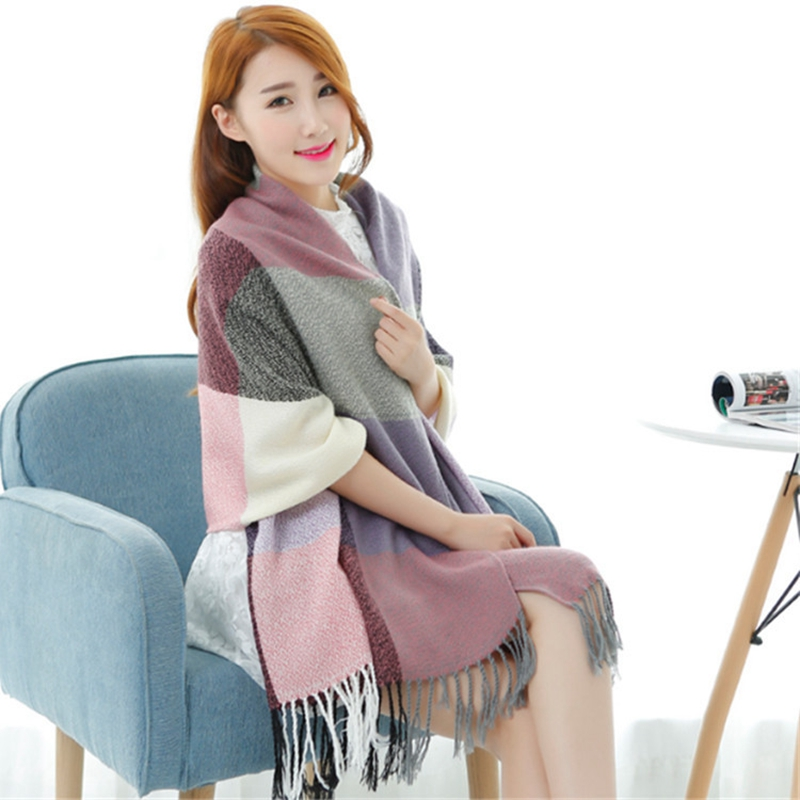 Luxury Mix colors Plaid Women scarves Knitted Wool Neck Cowl Wrap shawl thicken winter warm Tassels Scarf For Women Girl