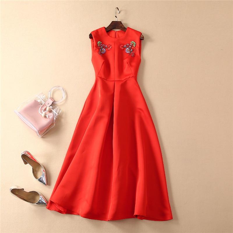 Top Quality Fashion Runway Dress 2019 New Summer Designer Women Sleeveless Diamonds Elegant Red Midi Tank
