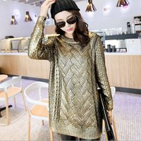 Spring Autumn Pullover Batwing Knitted Loose Sweater Silver Gold Colored Coated Women Long Sleeve Blouses 2017 Sueter Mujer
