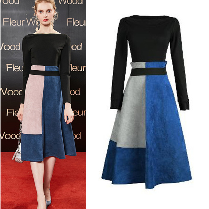 2019 Women Spring Two Piece Clothing Set Slash Neck Black Blouse And Knee-Length Spliced Patchwork OL Skirts Suit Sets NS134