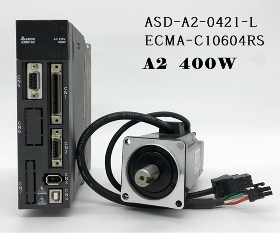ECMA-C10604RS + ASD-A2-0421-L ASDA-A2 AC servo controlador de motor kits de 0.4kw 400 W 3000 rpm 1.27Nm 60mm marco